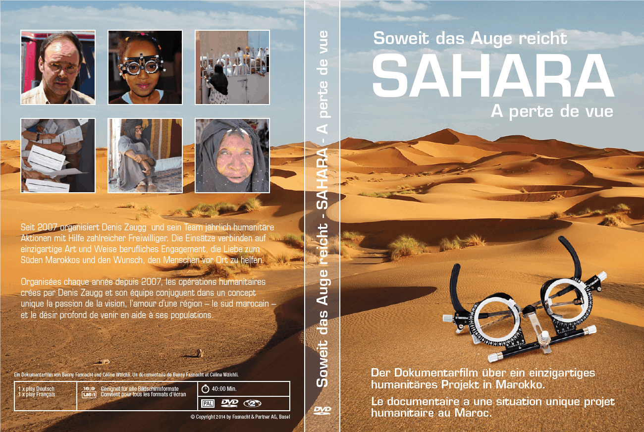 """DVD-Cover des Dokumentarfilms """"Soweit das Auge reicht Sahara - à perte de vue"""" von Benny Fasnacht und Céline Wälchli"""